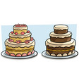 cartoon tasty holiday cake icon set vector image