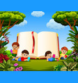 children reading the book vector image