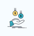 coins hand currency payment money flat icon green vector image