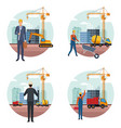 construction engineer cartoon vector image vector image