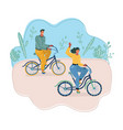 couple with bicycles in park vector image vector image