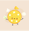 cute happy cheese pizza character vector image
