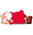 cute sleeping santa claus isolated on white vector image vector image