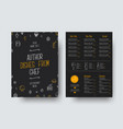 design a4 size of a black menu for a restaurant vector image vector image