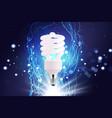 eco energy saving light bulb glowing compact vector image