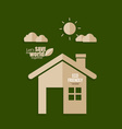 Ecology concept Paper cut of House on green vector image