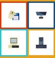 flat icon computer set of processor computer vector image vector image