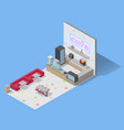 food cafe isometric composition vector image vector image