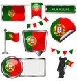 glossy icons with flag of portugal vector image vector image