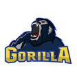 gorilla logo mascot vector image vector image