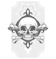 Grey human skull with two bones tattoo vector image vector image