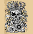 grunge scary skull wearing crown with sword vector image vector image