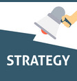 hand holding megaphone with strategy announcement vector image