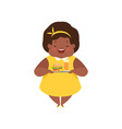 happy overweight african american girl with junk vector image