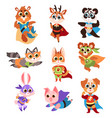 hero animals characters cute children animals vector image