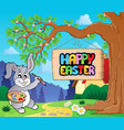 image with easter bunny and sign 1 vector image vector image