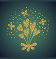 jewelry gold glitter of love heart flower vector image