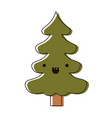 kawaii christmas tree with trunk with smiling vector image