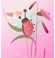 Ladybird on a flower vector image vector image