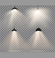 lamps set with warm light on a transparent vector image