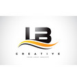 lb l b swoosh letter logo design with modern