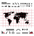 military infographics elements with world map vector image