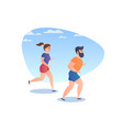 people while running vector image