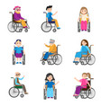 set cute smiling persons with motion disability vector image vector image