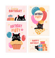 set happy birthday greeting card and party vector image