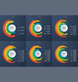 set of circle informative infographic charts vector image vector image