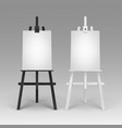set of wooden black white easels with mock vector image vector image