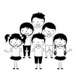 smiling group of kids on white background vector image vector image
