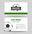 Soccer club business card template vector image