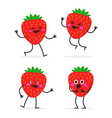 strawberry cute fruit character set vector image vector image