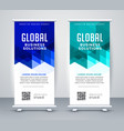 stylish blue modern rollup banner set vector image