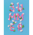 summer 3d text banner design with daisy flowers vector image vector image
