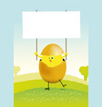 tiny easter chicken in a spring landscape vector image vector image