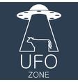 ufo zone logo on blue background vector image vector image
