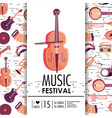 violin and instruments to music festival event vector image vector image