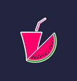 watermelon juice slice of watermelon with a glass vector image vector image
