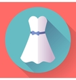 white dress - classic fashion icon in flat vector image vector image