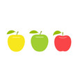 yellow green and red apple vector image vector image