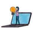 young woman working with laptop and bulb vector image