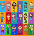 decorative pattern design with children vector image