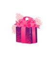 cartoon present gift box ribbon bow vector image