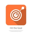 Flat Target Hit the Goal Icon with Long vector image