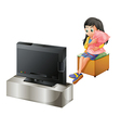A young girl hugging a pillow while watching TV vector image vector image