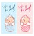 bashower design newborn bagirl and boy in vector image vector image