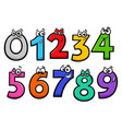 basic numbers cartoon characters set vector image vector image