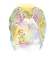 Beautiful Angel with Wings Flying over Child vector image vector image